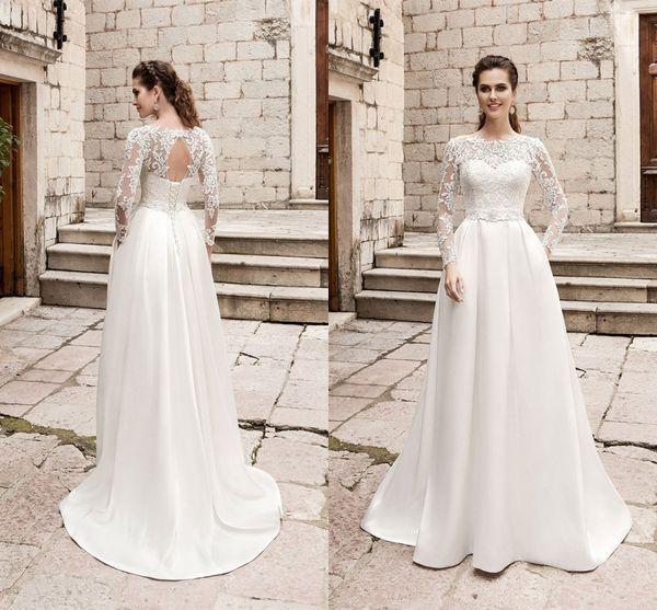2020 Elegant Long Lace Sleeves Wedding Dresses Applique Jewel Satin Long Lace Vesidos De Novia Wedding Reception Dress Bridal Gowns