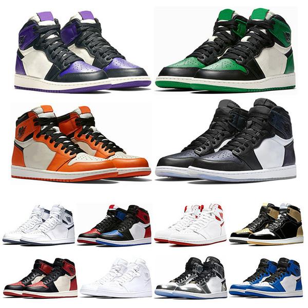 Designer 1s Mens basketball shoes top Pine Green Court Purple Chicago OG 1 Game Royal Blue Backboard sports sneaker trainers 7-13