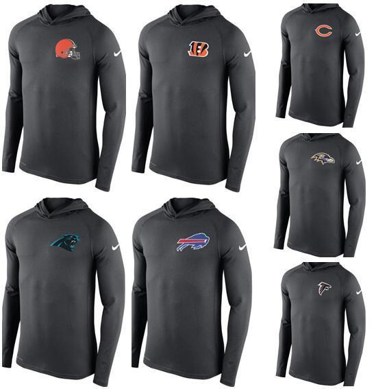 2019 New Cleveland Cincinnati Chicago Carolina Atlanta Homens Ravens falcon pantera manga comprida T-shirt Ursos Bengals Browns com capuz Desempenho