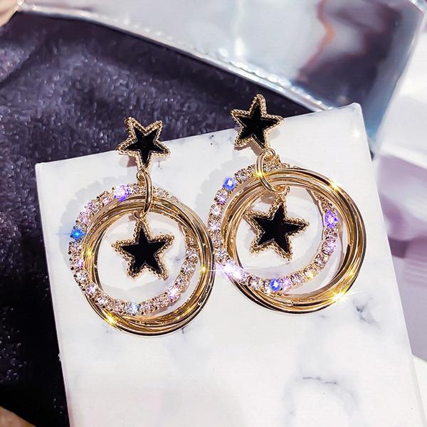 2019 New Fashion Ciondola gli orecchini Orecchini a stella a cinque punte Gioielli coreani Orecchini a più strati con cerchio a goccia per donna