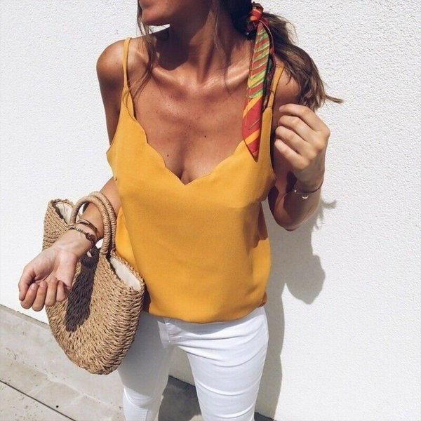 2019 New Sexy Womens Vest Cami Camisole T Shirt Sleeveless Sling Solid Casual Blouse Ladies V Neck Summer Tops