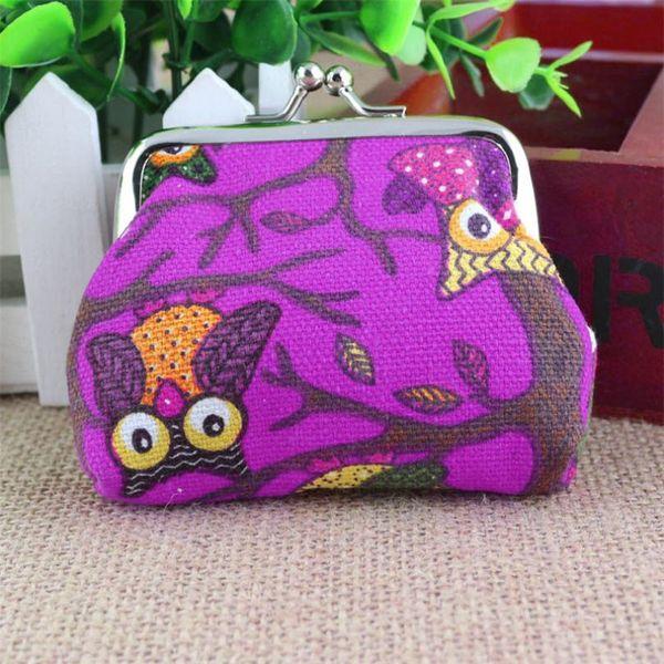 Fashion lady mini bag cute style owl print casual fashion buckle small coin purse hand carry purse woman portamonedas