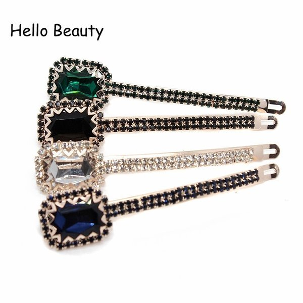 crystal clip 1 Pair Trendy Diamante Accessories Large Rhinestone Barrette Luxury Jewelry Green Black Crystal Hair Clips For Women