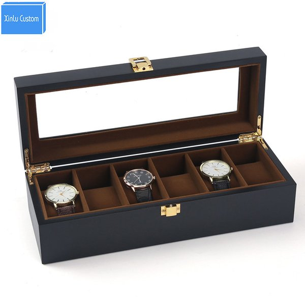 Black Paint 6 Slots Watch Boxes Jewelry/Watch Grids Velvet Storage&Display Watches Cases Gift Packaging Wholesale Drop Shipping