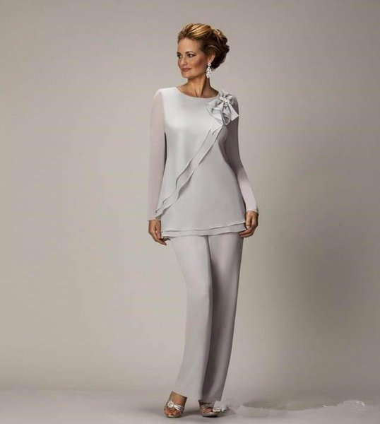 Elegant Plus Size Silver Mother's Pants Suit For Mother of The Bride Groom Chiffon Wedding Party Dress