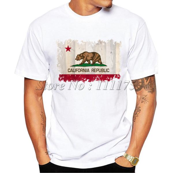 California Republic t shirt Bear flag short sleeve tops Star unisex fastness tees Colorfast print clothing Pure color modal tshirt