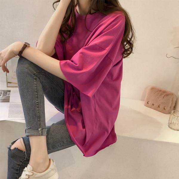 Großhandel mit neuen Pure Medium und lange T-Shirts, Frauen Rund-Kragen, kurzärmlig Modisch, lose Halbhülse Weinrot-T-Shirts