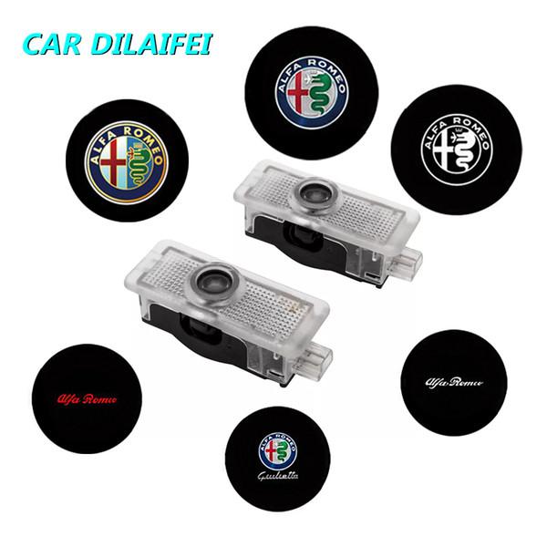 2 Pz per Alfa Romeo LED Car Door Welcome Light Logo Proiettore Giulia Giulietta Mito Stelvio Brera 147 156 159