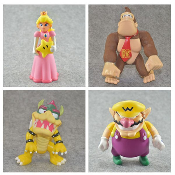 High Quality New Super Mario Bros Bowser Koopa Monkey Princess Action Figure Toy For Child Gifts 12cm