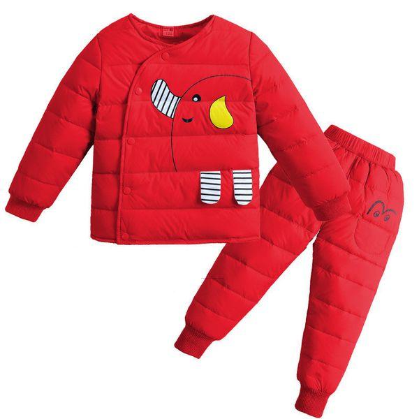 Kaliteli 2019 kızlar kış giyim setleri erkek kız aşağı ceket karikatür pamuk suit kalın sıcak giysiler Çocuk giyimi set