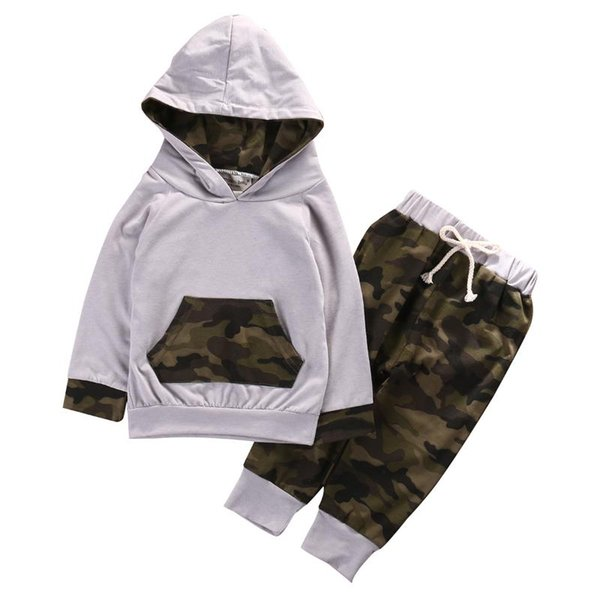 2 pcs baby camouflage clothing set babies boy girl hooded clothes sets infant boys hoodie +pants 2pcs outfits thumbnail