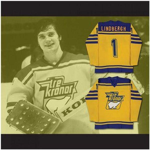 Custom XS-5XL Pelle Lindbergh Tre Kroner Team Svezia Hockey Jersey Punto cucito Qualsiasi nome o numero Spedizione gratuita