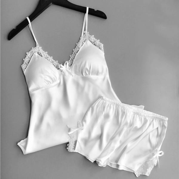 Lingerie Sexy Women's Satin Silk Pajama Summer Spaghetti Strap Sleepwear Lace Pijama Pyjamas Women Home Clothes Bathrobe 2019