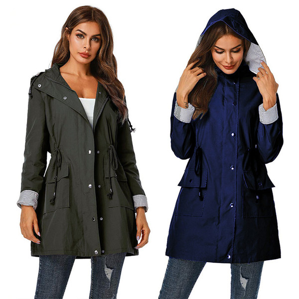 2019 Korean Trench Coat Fashion Double Breasted Mid-long Trench Coat Slim Hooded Belt Large Size Waterproof Windbreak Outwear