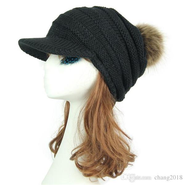 Korean Hair ball Knitted wool cap Autumn hat women Keep warm Curved eaves Raccoon fur Peaked cap Baseball Caps fg012