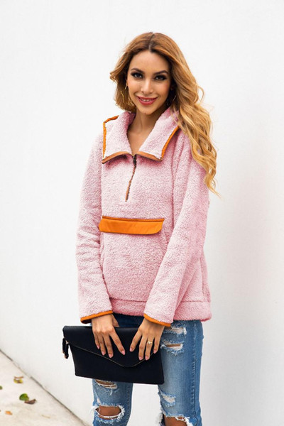 wontive 2019 new autumn and winter stitching pockets zipper neck turn-down collar coat casual warm overcoat