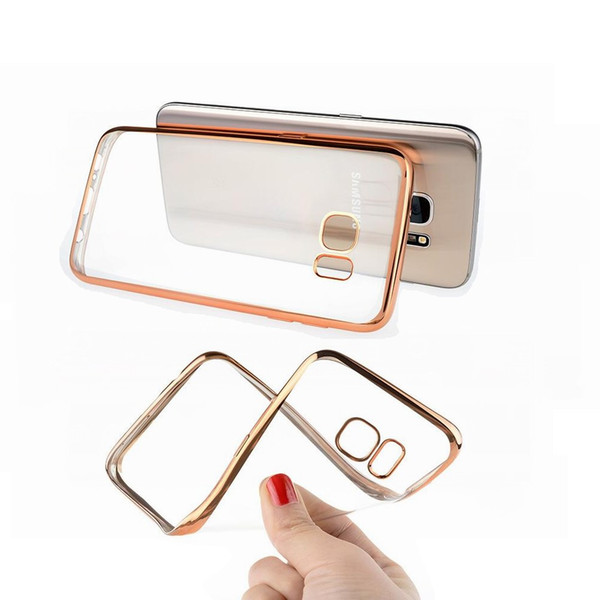 1000Pcs/lot Ultra thin Luxury Plating Bumper Transparent TPU Cover Case For samsung Galaxy S9 S8 S7 S6 EDGE Plus NOTE 8 7 5