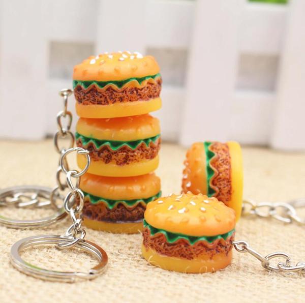 3D Resin Hamburger Keychain Mini Food Hamburger Key Chain Gold Carabiner Keychains Key Ring Holds Hangbag Hangs Promotion Gift