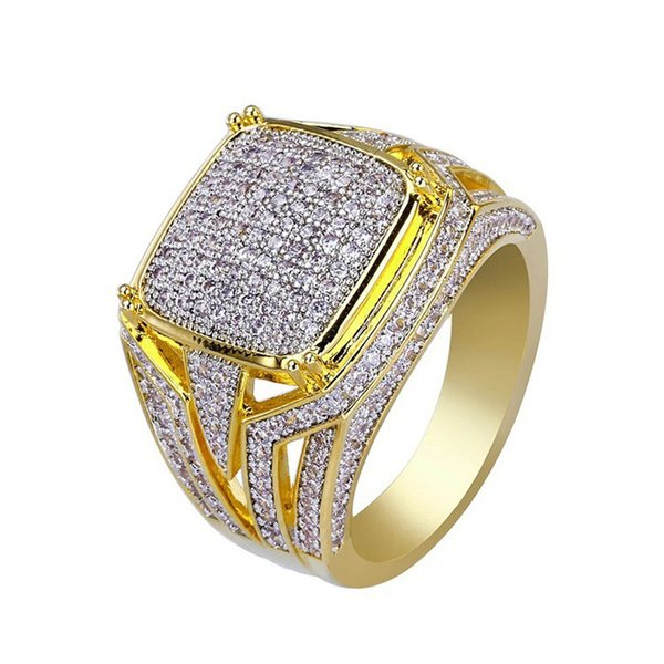 top popular High Quality Hiphop Micro Pave Rhinestone Iced Out Bling Ring Fashion Gold Filled Crystal Punk Rings for Men Jewelry Gift 2019