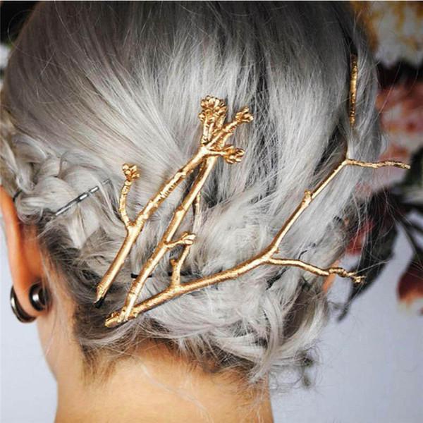 Kadınlar için zarif Metal Ağacı Şubesi Tokalar Saç Klipler tokalarım Kadın Şapkalar Alaşım Saç Aksesuarları Saç Klip Yeni D19011502