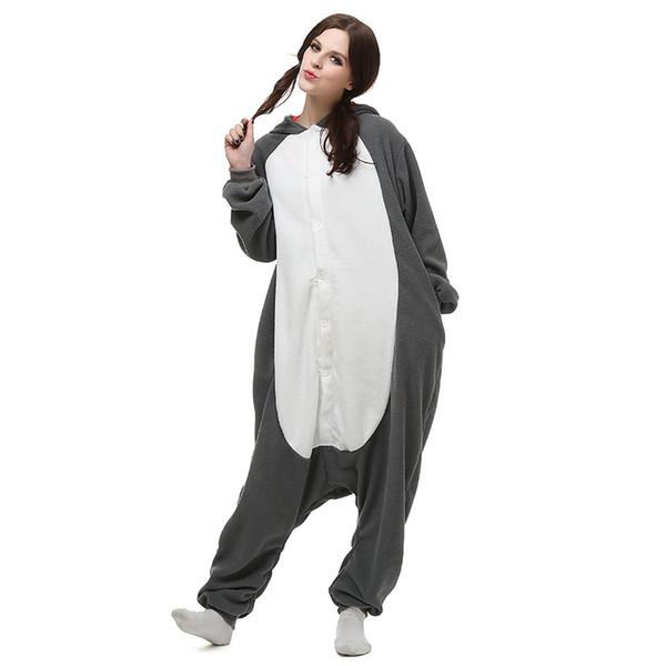 Onesies pas cher loup gris avec poches et queue mignonne à manches longues avec capuchon conjoint, longueur au sol AC029