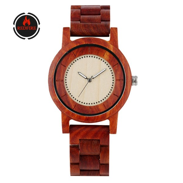 redfire retro red wood watch men's watches quartz movement simple round wooden clock male full wood wristwatches reloj masculino
