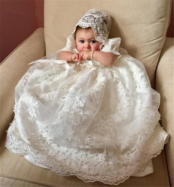 Потрясающие Новое крещение платье ребёнков крестины платье Длина пола Младенец девушки крестины платье ручной Heirloom платье Set