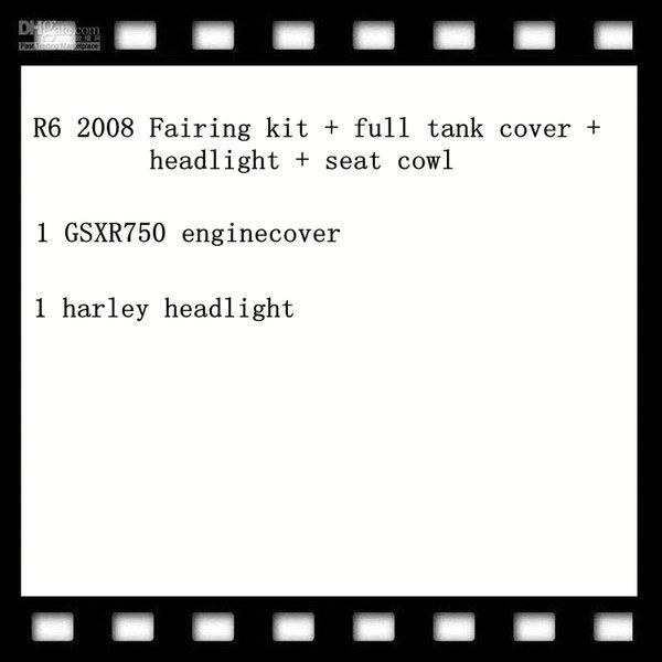 1 Set R6 2008 kit carenatura + copertura completa del serbatoio + fari + sede cappuccio, 1 pz GSXR750 enginecover, 1 pz harley faro