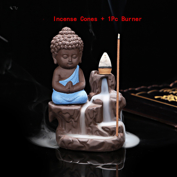 10Pcs Incense Cones + 1Pc Burner The Little Monk Small Buddha Censer Ceramic Waterfall Backflow Incense Burner Holder Home Decor