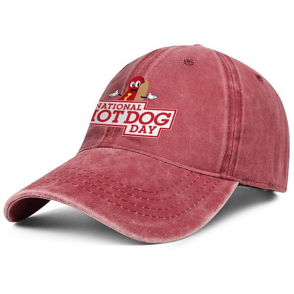 National Hot Dog Day mens guys Sport Denim baseball hat graphic adjustable women sun cap Hipster trucker cap mesh hats