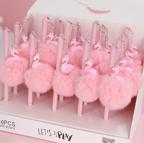 Penna di fenicottero rosa Bella penne di peluche di peluche per la scuola di scrittura Regali per ragazza Penne neutre kawaii Materiale scolastico Cancelleria GB459