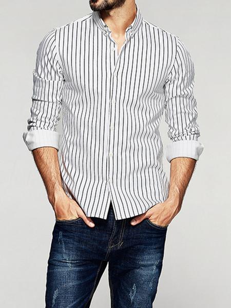 2019 5XL Plus Size Listrado Camisas Casual Men manga comprida clássico Negócios Masculino shirt Não-Ferro Traje social Shirts Man Muls Marca