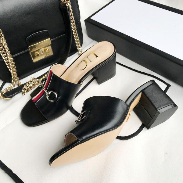 Chaussures design Sandales à talons hauts Chaussons en cuir pour femmes Création italienne Sandales plates à talons hauts GG style casual classique Sandales neuves s