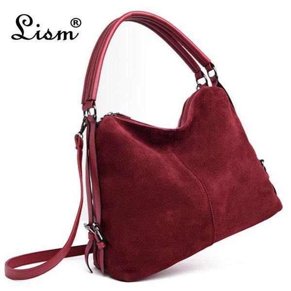 Bolso de hombro de cuero de gamuza con costuras de PU para mujer Bolso casual de nobuck para mujer Bolso de mensajero Hobo Bolso MX190822