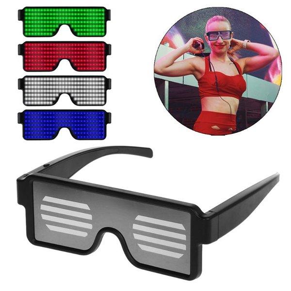 10 Режимы быстрой вспышки водить партии стекла USB Charge Светящиеся очки Glow Солнцезащитные очки для развлечения Хэллоуин Рождественский концерт