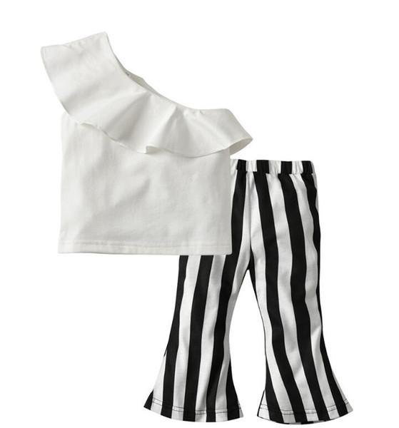 Single Shoulder Lotus Edge Kids Suit 2 Pieces Short Sleeve Top Pants Leggings Clothes Set free shipping