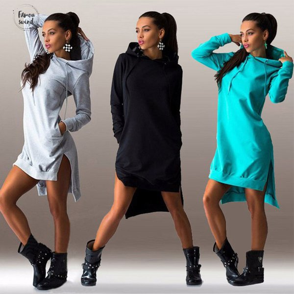 Femmes Pull poches Svitshot Hoodies Casual femme Sweats à capuche Survêtement 2019 Sweat O Neck Femme Robe Slim capuche Drop Shipping