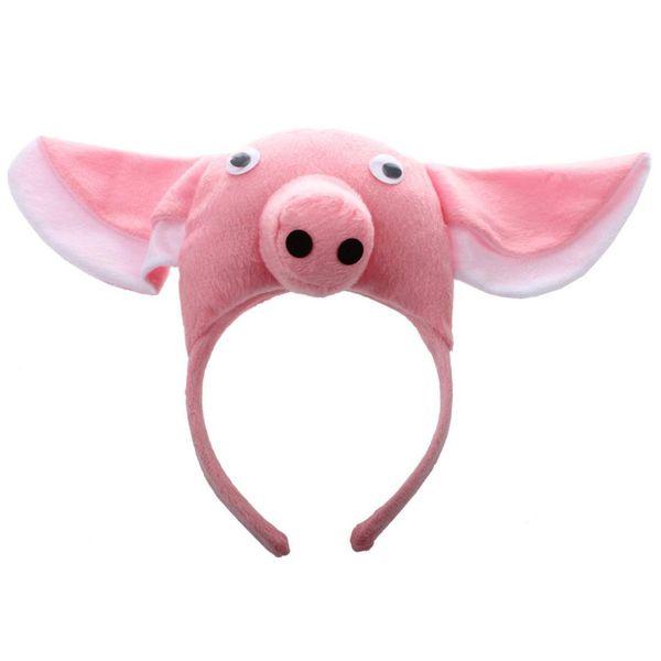 3D de la venda del cerdo animales de la granja de los niños adultos máscara traje lindo fiesta de cerdo diadema decoración del partido divertido
