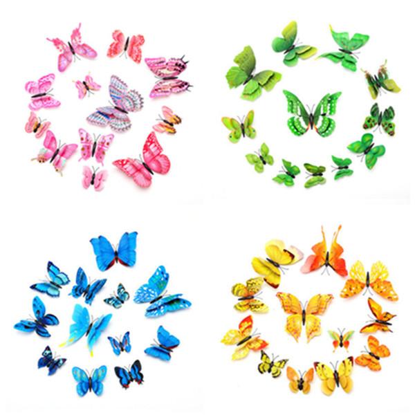 12 adet 3D Kelebek Duvar Çıkartmaları PVC Simülasyon Renkli Kelebek Çıkarılabilir Duvar Çıkartmaları Buzdolabı Mıknatısları Sanat Çıkartmaları Çocuk Odası Ev dekor
