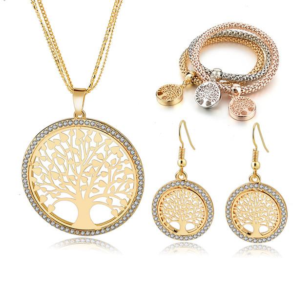 LONGWAY Árbol del color oro de la joyería Vida set Para Mujeres Niñas pulseras de los pendientes del collar de la boda de la joyería cristalina Conjunto SET160008 CJ191116