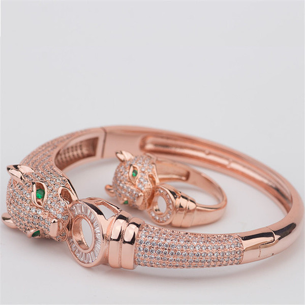 Exquisite Classic Bangles Rings Luxury Animals Design Bracelets Rings Fashion Gold Silver Rose Bracelet Rings Wedding Jewelry Lover Gift