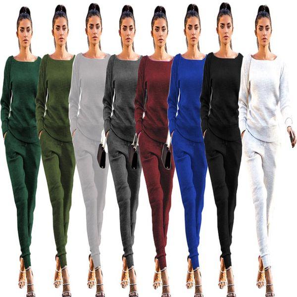 Womens Designer Tuta pullover o-collo due pezzi set felpa con cappuccio top manica lunga e pantaloni lunghi Abiti sportivi da jogging abbigliamento donna klw2241