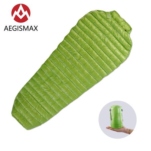 AEGISMAX MINI Long Green/Black Adult Outdoor Camping Ultra-Light Spring Autumn Summer Three Season Mummy Down Sleeping Bag
