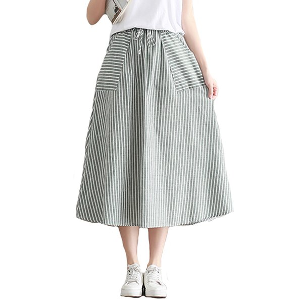 1837287a9f Faldas Mujeres Verano Saia Falda Midi Mujer Con Bolsillos Japón Mori Chica  Rayas Algodón Y Lino