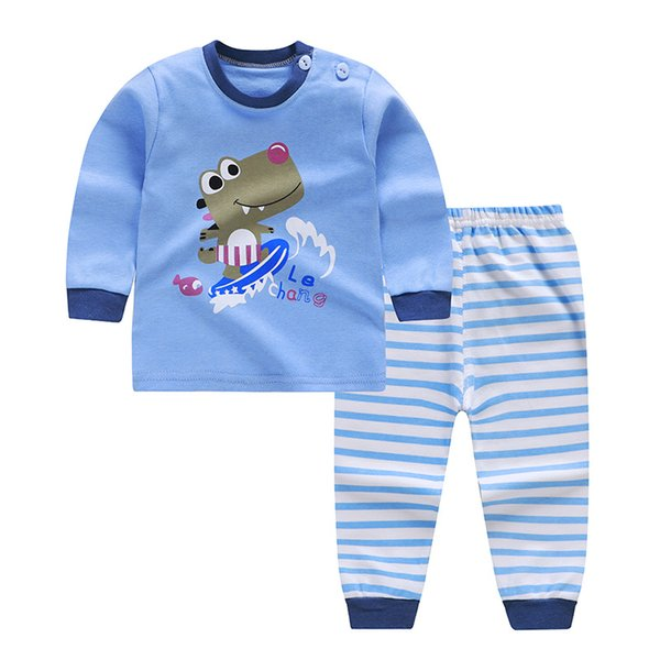Boys Clothing Set Cartoon Cars Dinosaur Clothing Costume Newborn Long Sleeve T-shirt Pant Suit Infant Cotton Blouse Trousers Set