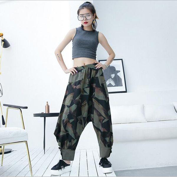 2019 verão Camuflagem Harem Pants Calças Casuais das mulheres soltas Hip Hop Calças de Rock Tornozelo-Comprimento Femme Calças rua basculador sweatpants