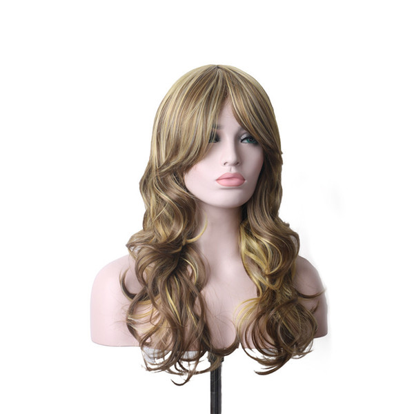 WoodFestival curly wigs for women blonde brown wig long hair heat resistant synthetic wigs with bangs wavy