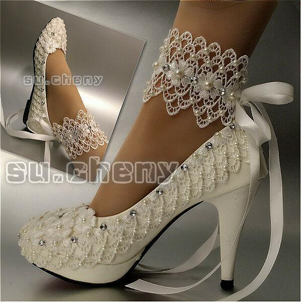 Hote sell wedding shoes bridal two types lace ribbon ankle pumps party pearls dancing shoes heels large size