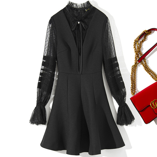 Fall Winter 2019 New Women Wave Point Mesh Trumpet Sleeve Stitching Large Pendulum Dress A-Line Black Dress Women Clothes