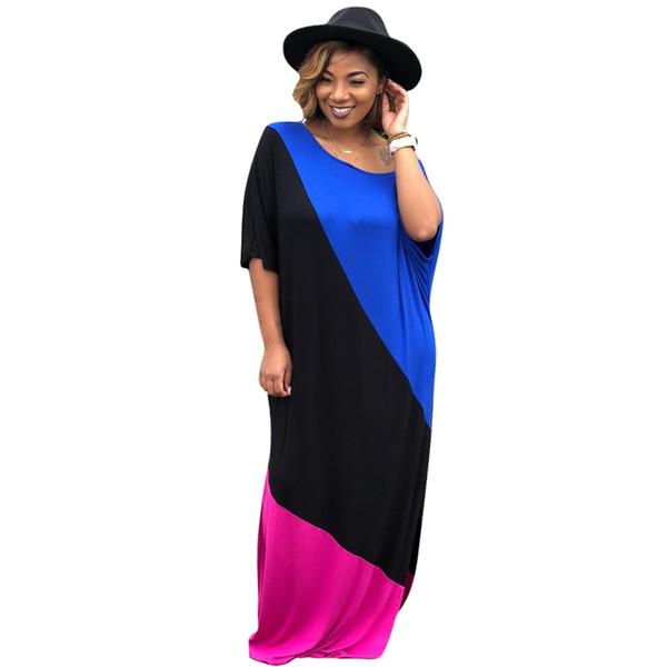 designer maxi dress women Short sleeve long skirts loose Scoop neck dresses Striped women Spring Summer clothes 78